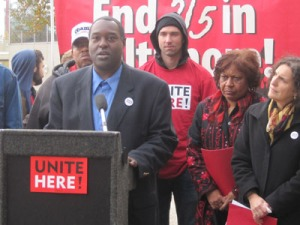 Fired hotel worker Mike Jones speaks out against the managers of the Hyatt Regency Baltimore at a Nov. 13 press conference. Also shown are NAACP representative Tessa Hill-Aston (center) and UNITE HERE Local 7 President Roxie Herbekian (far right).   Photo by UNITE HERE.