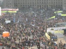 Thousands of thousands of demonstrators fill Tahrir Square to mark the second anniversary of the Egyptian revolution.   (Photo by Carl Finamore)