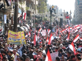 .workers and youth fill the streets leading into Tahrir Square after Mubarak resigned