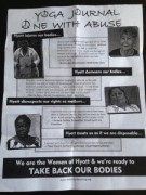 Flyer distributed to San Francisco yoga studios, urging support from community.