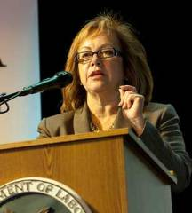 Maria Elena Durazo speaks during the Action Summit on Worker Safety and Health at East Los Angeles College, April 26, 2012. (Photo: Susan Goldman / US Department of Labor)