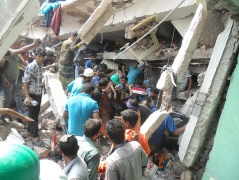 Dozens of Bangladesh workers in several garment factores were killed in a building collapse today. Photo: Bangladesh Federation of Workers Solidarity (BFWS).