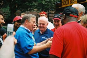 BEST OF FRIENDS – UNITE VP Clayola Brown, John Sweeney, Bruce Raynor, Edgar Romney (from behind) at Yale strike, New Haven, 2003)