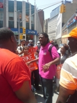 New York City Councilmember Jumaane Williams with striking fast food workers on July 29, 2013. (Photo by Sarah Jaffe)
