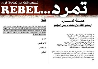 "A copy of the petition form calling for confidence withdrawal from the ""no longer legitimate"" President Mohammed Morsi"