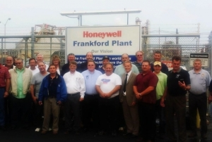 Honeywell workers gather in front of the plant in Metropolis, Ill. (Photo from the Support for Metropolis, IL Honeywell Workers Facebook page)