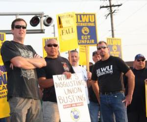 "Drawing on the principle that ""an injury to one is an injury to all,"" ILWU longshore and marine workers have used their port power to support the struggles of other unions. But jurisdictional disputes, most notably a 2011 battle with the Operating Engineers over work at a grain terminal in Longview, Washington, have driven a wedge between the militant union and the AFL-CIO. Photo: Dawn Des Brisay."