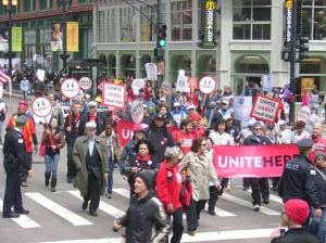 It's been a long road—Unite Here protesting Hyatt Hotel Corp in Chicago in 2009. (Jean Paul Holmes / Wikimedia Commons