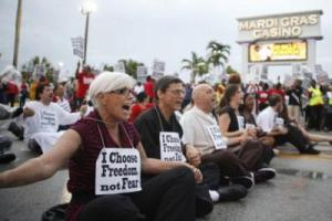 """Ironically, the employer broke the neutrality agreement that's at issue in today's Supreme Court case testing whether such agreements are employer bribes. """"Neutral"""" Mardi Gras Gaming fired 10 employees for their union activism—which led to a rally of hundreds and arrests of 26."""
