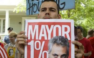 Protesters descended on Rahm Emanuel's house on July 4 to decry his austerity policies. Credit: Rotating Frame/Flickr