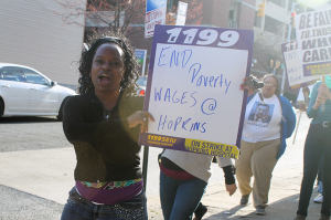 On Wednesday, union workers at Johns Hopkins Hospital began a three day strike, demanding higher wages. With their current pay, many workers qualify for food stamps.   (Rae Rawls)