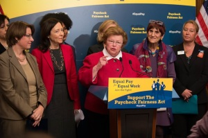 Senator Barbara Mikulski (D-Md.) calls on the Senate to pass the Paycheck Fairness Act at an April 1 press conference. If enacted, the law would have protected all workers from being fired for discussing wages with each other. (Senate Democrats / Flickr / Creative Commons)