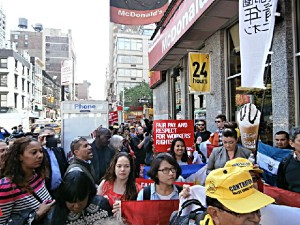 International fast food workers in Manhattan