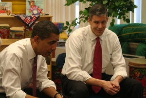 President Barack Obama and Secretary of Education  Arne Duncan (wikimedia)