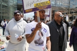 1199SEIU President George Gresham (right) protests low wages with fellow union members in a three-day picket line outside Johns Hopkins Hospital in April.   (Jim McNeill/1199SEIU)
