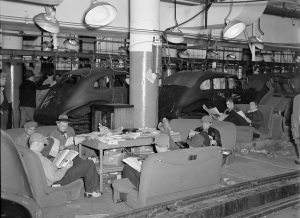 Workers occupy a factory in the 1937 Flint Sit Down Strike. Library of Congeress