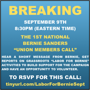 labor for bernie conference call poster